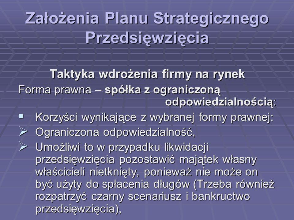 Założenia Planu Strategicznego Przedsięwzięcia Taktyka wdrożenia firmy na rynek Forma prawna – spółka z ograniczoną odpowiedzialnością: Korzyści wynik