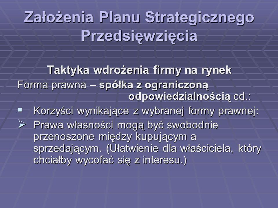 Założenia Planu Strategicznego Przedsięwzięcia Taktyka wdrożenia firmy na rynek Forma prawna – spółka z ograniczoną odpowiedzialnością cd.: Korzyści w