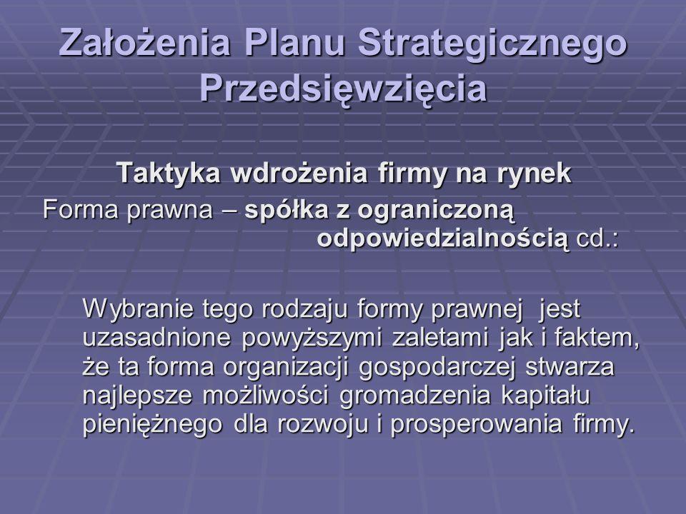 Założenia Planu Strategicznego Przedsięwzięcia Taktyka wdrożenia firmy na rynek Forma prawna – spółka z ograniczoną odpowiedzialnością cd.: Wybranie t