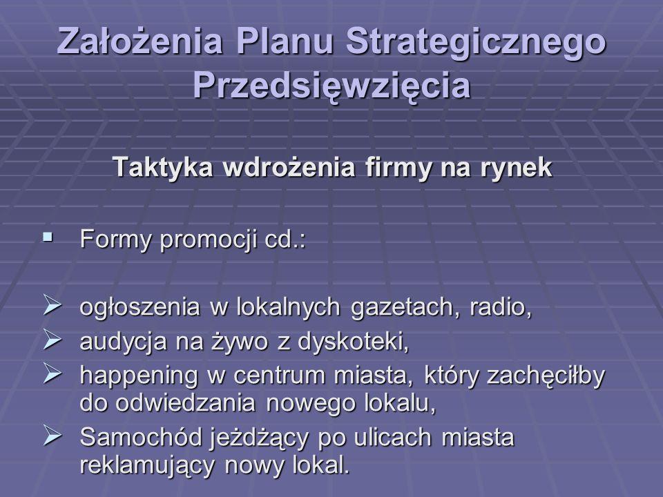 Założenia Planu Strategicznego Przedsięwzięcia Taktyka wdrożenia firmy na rynek Formy promocji cd.: Formy promocji cd.: ogłoszenia w lokalnych gazetac