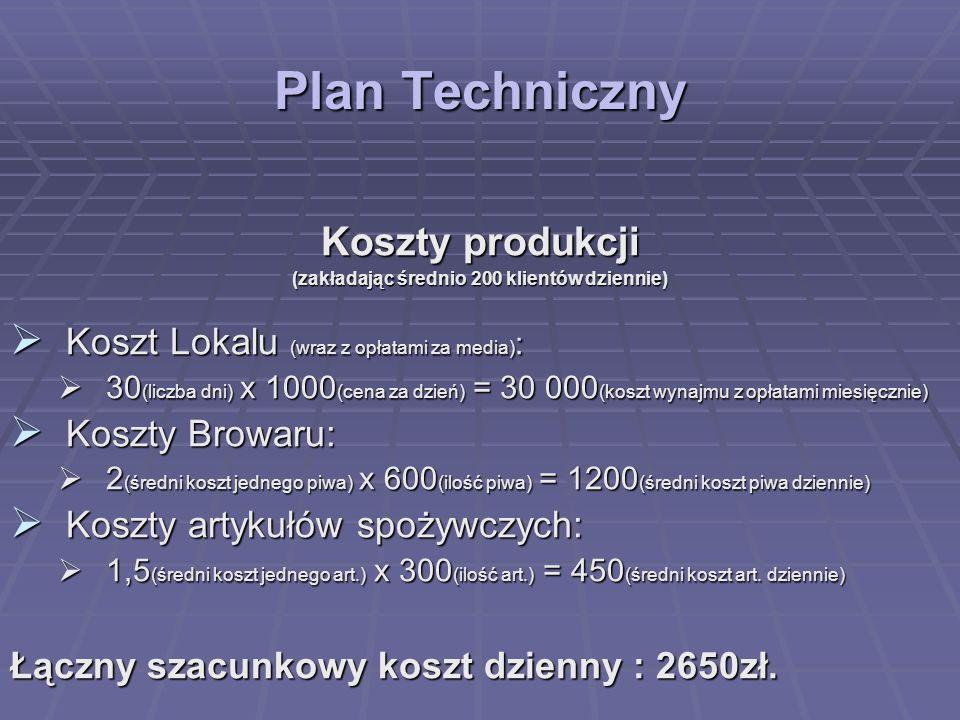 Plan Techniczny Koszty produkcji (zakładając średnio 200 klientów dziennie) Koszt Lokalu (wraz z opłatami za media) : Koszt Lokalu (wraz z opłatami za