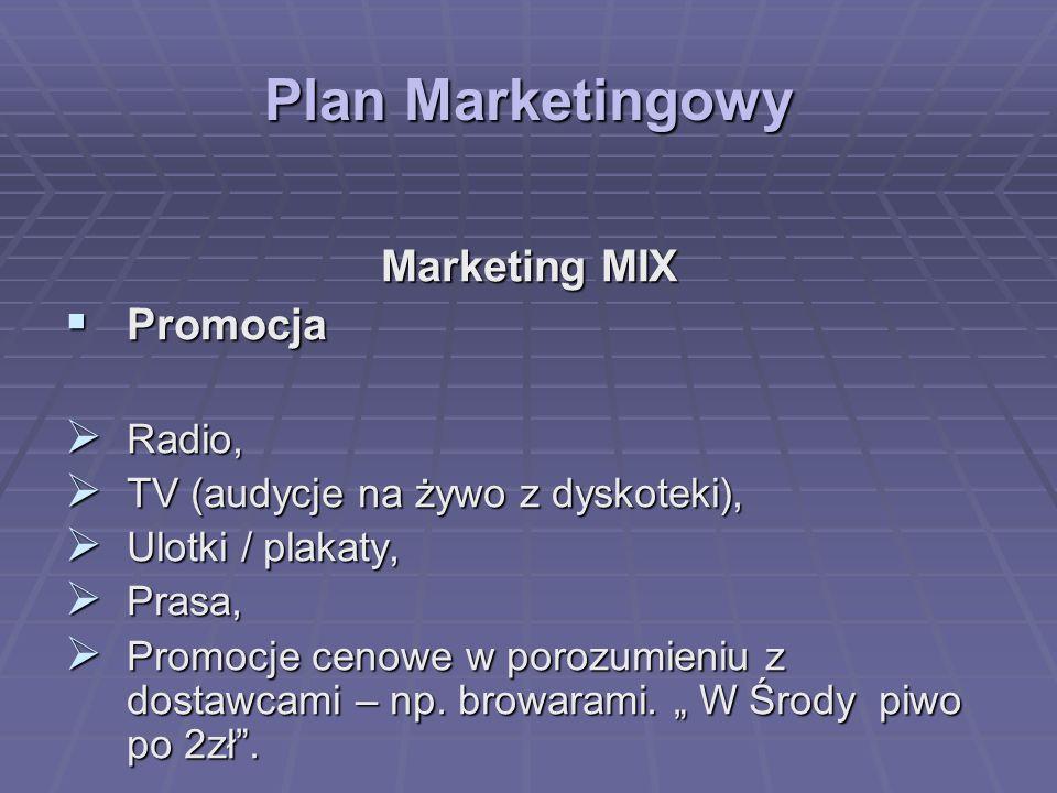Plan Marketingowy Marketing MIX Promocja Promocja Radio, Radio, TV (audycje na żywo z dyskoteki), TV (audycje na żywo z dyskoteki), Ulotki / plakaty,