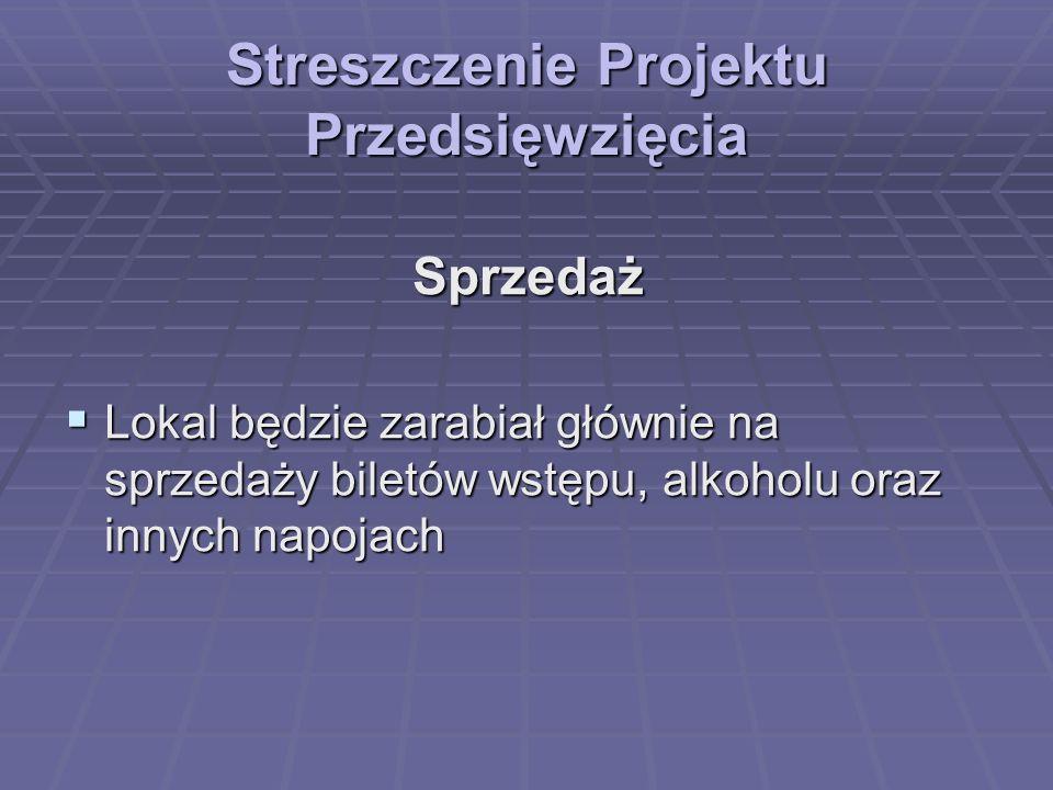 Streszczenie Projektu Przedsięwzięcia Wizja firmy w okresie 5-10 lat stworzenie sieci dyskotek w większych miastach Polski stworzenie sieci dyskotek w większych miastach Polski nastawienie na studentów, ludzi młodych lubiących dobrą zabawę nastawienie na studentów, ludzi młodych lubiących dobrą zabawę zapewnienie stałego średniego standardu lokalu, nadążającego za nowinkami technicznymi zapewnienie stałego średniego standardu lokalu, nadążającego za nowinkami technicznymi zapewnienie stałego maksymalnego bezpieczeństwa dla klientów zapewnienie stałego maksymalnego bezpieczeństwa dla klientów utrzymanie pozycji najpopularniejszej dyskoteki w mieście.