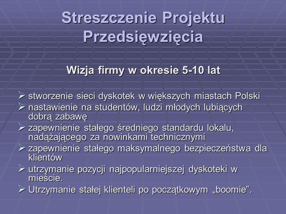 Streszczenie Projektu Przedsięwzięcia Wizja firmy w okresie 5-10 lat stworzenie sieci dyskotek w większych miastach Polski stworzenie sieci dyskotek w