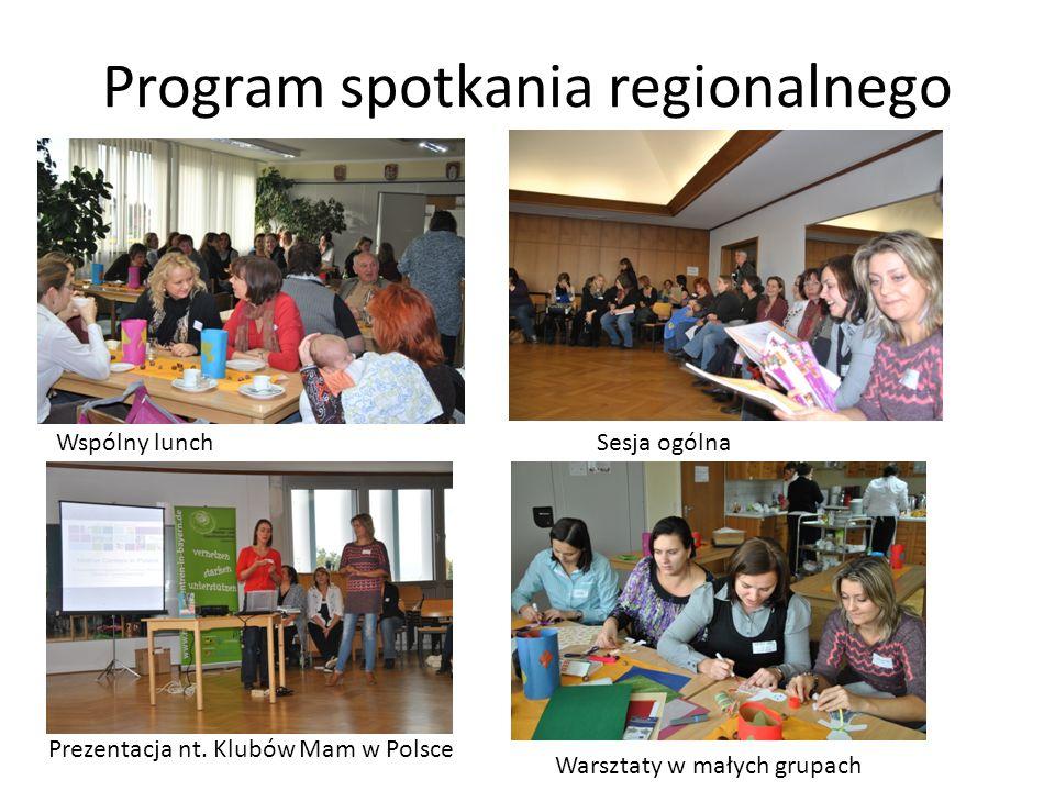 Program spotkania regionalnego Wspólny lunchSesja ogólna Prezentacja nt. Klubów Mam w Polsce Warsztaty w małych grupach