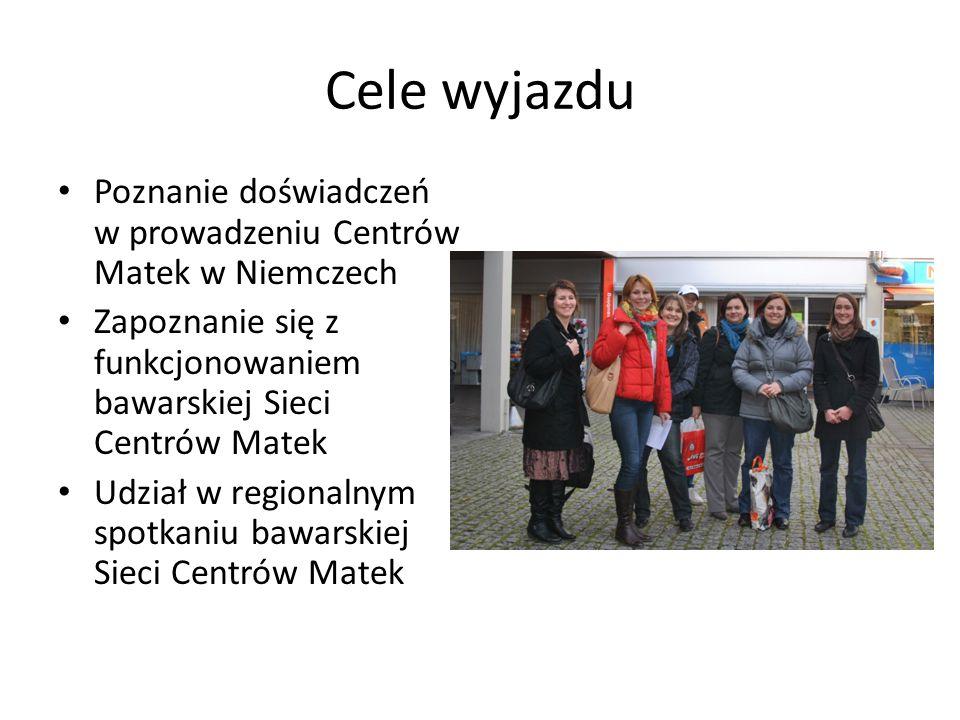Cele wyjazdu Poznanie doświadczeń w prowadzeniu Centrów Matek w Niemczech Zapoznanie się z funkcjonowaniem bawarskiej Sieci Centrów Matek Udział w reg