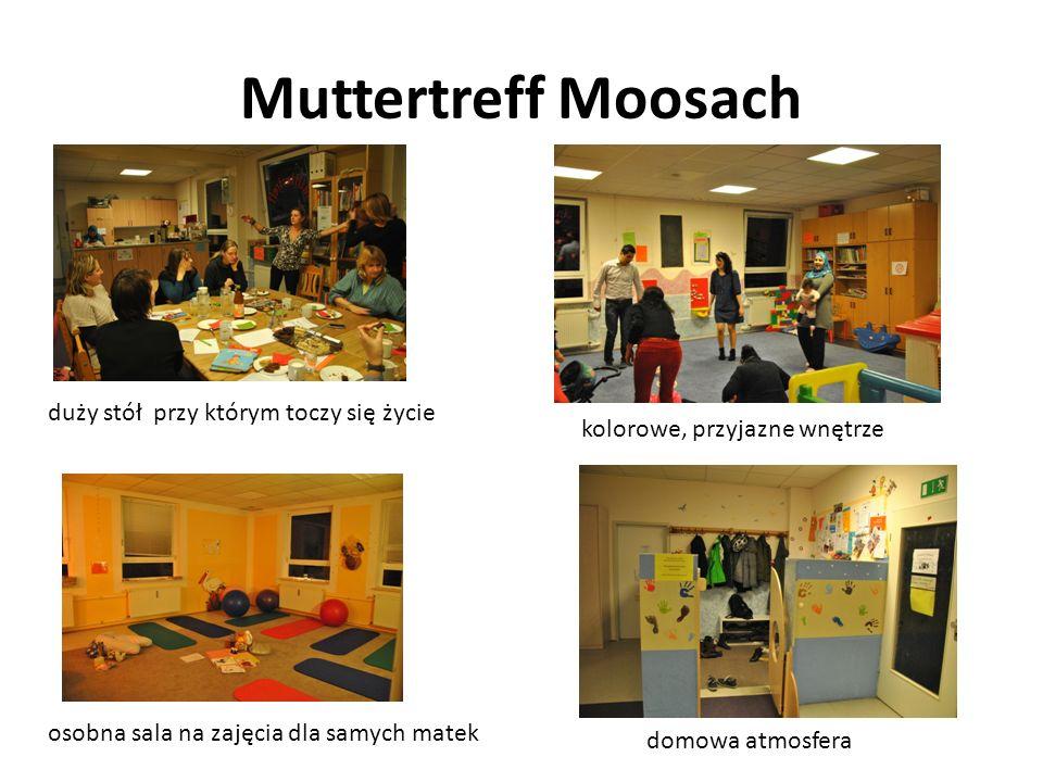 Muttertreff Moosach domowa atmosfera duży stół przy którym toczy się życie kolorowe, przyjazne wnętrze osobna sala na zajęcia dla samych matek