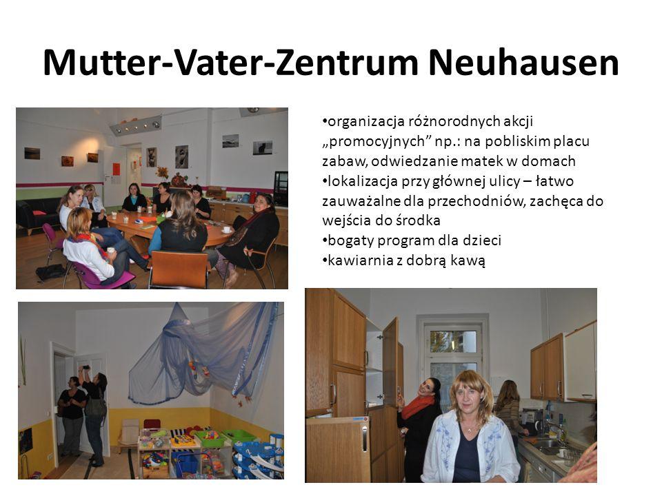Mutter-Vater-Zentrum Neuhausen organizacja różnorodnych akcji promocyjnych np.: na pobliskim placu zabaw, odwiedzanie matek w domach lokalizacja przy