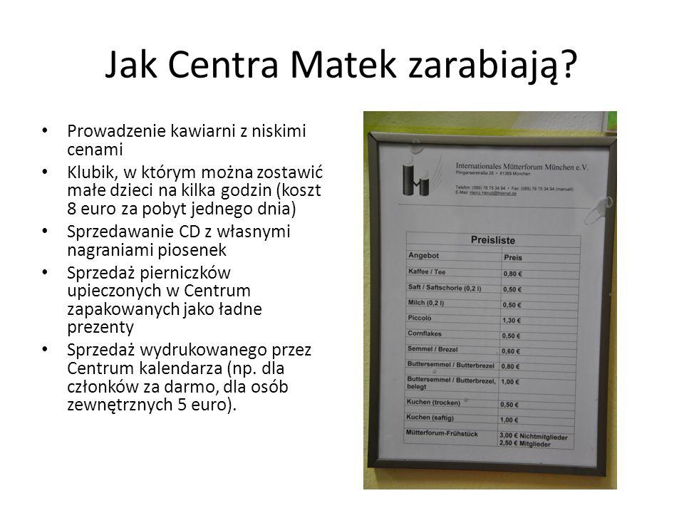 Jak Centra Matek zarabiają? Prowadzenie kawiarni z niskimi cenami Klubik, w którym można zostawić małe dzieci na kilka godzin (koszt 8 euro za pobyt j