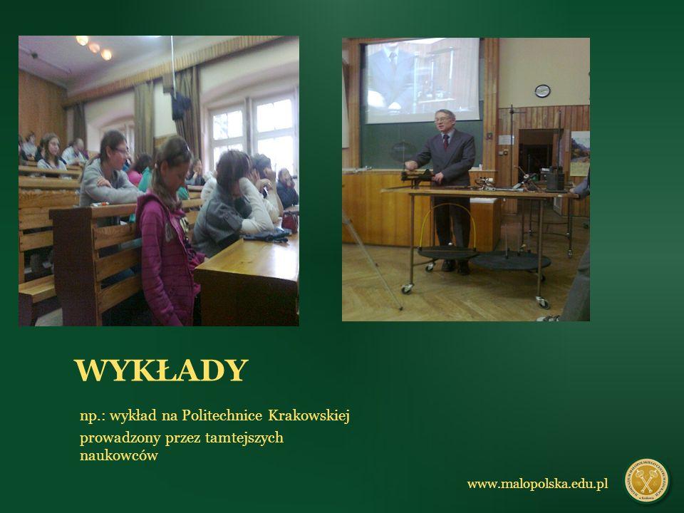np.: wykład na Politechnice Krakowskiej prowadzony przez tamtejszych naukowców www.malopolska.edu.pl