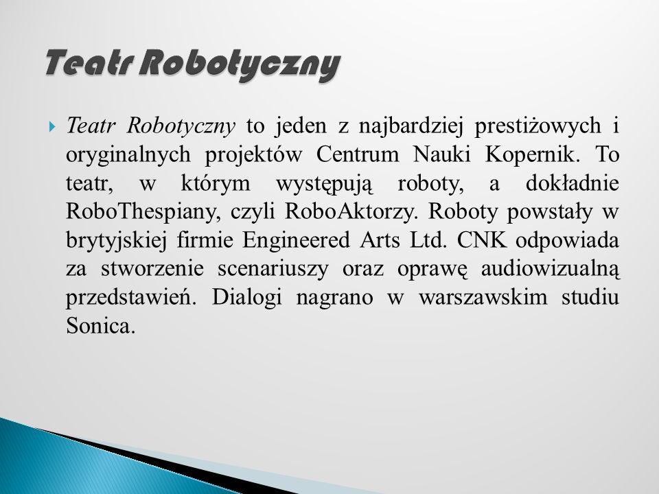 Teatr Robotyczny to jeden z najbardziej prestiżowych i oryginalnych projektów Centrum Nauki Kopernik.