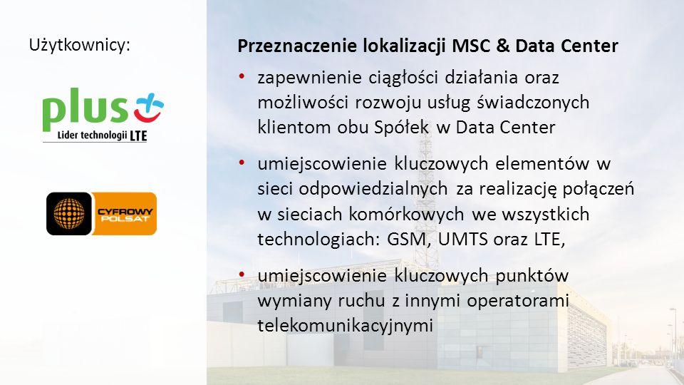 Charakterystyka lokalizacji MSC & Data Center Najnowocześniejszy obiekt tego typu w Polsce i jeden z nowocześniejszych w Europie Obiekt inteligentny, umożliwiający zdalne zarządzanie wszystkimi systemami, o dużym potencjale rozwoju Ponad 1.000 urządzeń IT (serwery, macierze dyskowe, przełączniki sieciowe, etc.) PetaBajty pojemności dyskowej dla przechowywania danych Tysiące wysoko wydajnych procesorów mocy obliczeniowej Kilka TeraBajtów pamięci operacyjnej serwerów (RAM) Dziesiątki tysięcy połączeń między urządzeniami Setki kilometrów okablowania Technologie wirtualizacyjne optymalizujące wykorzystanie posiadanych zasobów