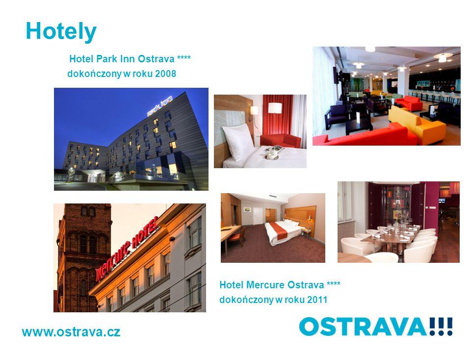 Hotely Hotel Park Inn Ostrava **** dokończony w roku 2008 www.ostrava.cz Hotel Mercure Ostrava **** dokończony w roku 2011