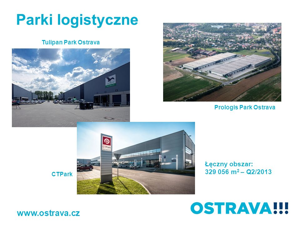 Tulipan Park Ostrava Prologis Park Ostrava CTPark Łęczny obszar: 329 056 m 2 – Q2/2013 Parki logistyczne www.ostrava.cz