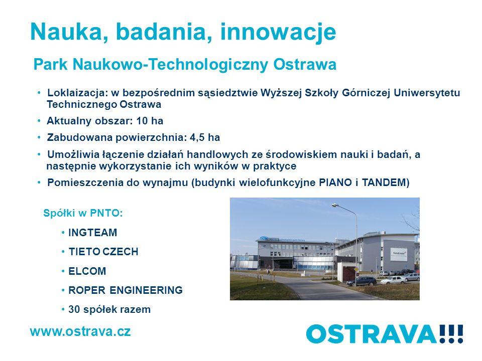 www.ostrava.cz Park Naukowo-Technologiczny Ostrawa Loklaizacja: w bezpośrednim sąsiedztwie Wyższej Szkoły Górniczej Uniwersytetu Technicznego Ostrawa