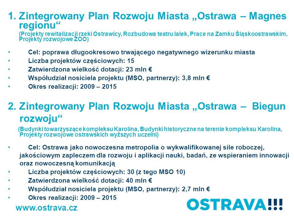 1.Zintegrowany Plan Rozwoju Miasta Ostrawa – Magnes regionu (Projekty rewitalizacji rzeki Ostrawicy, Rozbudowa teatru lalek, Prace na Zamku Śląskoostr