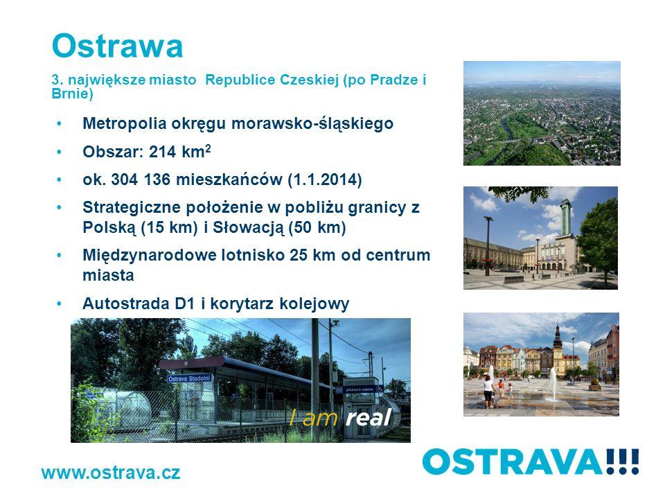 Historia Ostrawa otrzymała nazwę od rzeki Ostrawicy, która dzieli miasto na część morawską i śląską 1267 – po raz pierwszy wspomniana nazwa gminy, i to w testamencie biskupa ołomunieckiego Bruna z Schauenburku 1763 – odkrycie węgla, ożywienie życia gospodarczego 1828 – założenie huty, gwałtowny rozwój aglomeracji 1918 (po powstaniu Republiki Czechosłowackiej) – Ostrawa dzięki hutom kopalniom posiada ważną pozycję gospodarczą i powoli przetwarza się w centrum administracyjne, towarzyskie i kulturalne 1989 – wyraźne zmiany gospodarcze i polityczne, restrukturyzacja przemysłu 1994 – zakończenie eksploatacji węgla kamiennego na terenie Ostrawy www.ostrava.cz