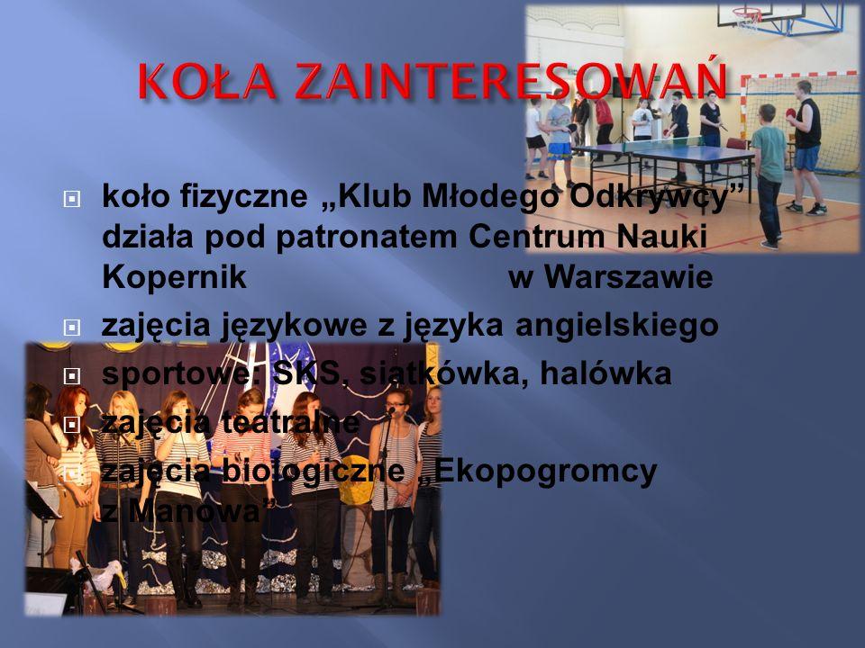 koło fizyczne Klub Młodego Odkrywcy działa pod patronatem Centrum Nauki Kopernik w Warszawie zajęcia językowe z języka angielskiego sportowe: SKS, sia