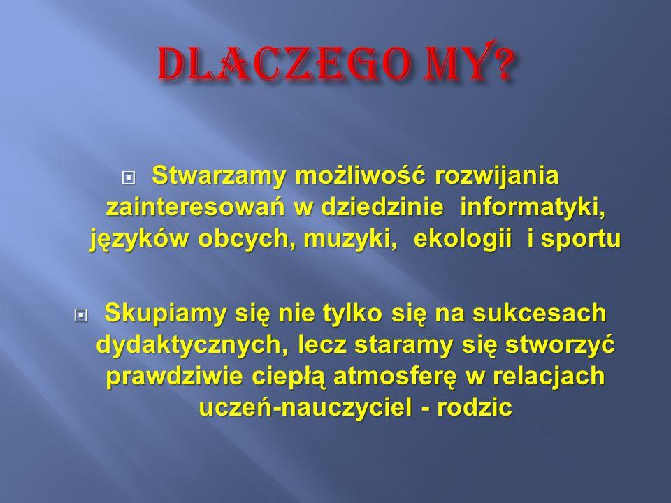 koło fizyczne Klub Młodego Odkrywcy działa pod patronatem Centrum Nauki Kopernik w Warszawie zajęcia językowe z języka angielskiego sportowe: SKS, siatkówka, halówka zajęcia teatralne zajęcia biologiczne Ekopogromcy z Manowa