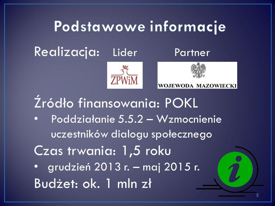 Realizacja: Lider Partner Źródło finansowania: POKL Poddziałanie 5.5.2 – Wzmocnienie uczestników dialogu społecznego Czas trwania: 1,5 roku grudzień 2013 r.