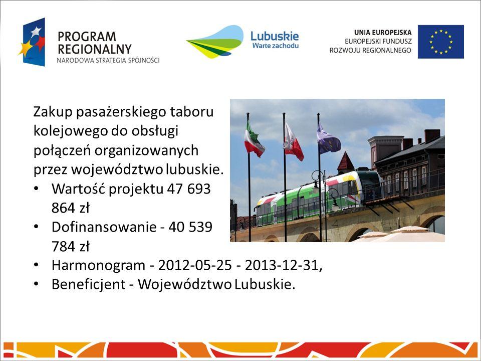 Zakup pasażerskiego taboru kolejowego do obsługi połączeń organizowanych przez województwo lubuskie. Wartość projektu 47 693 864 zł Dofinansowanie - 4