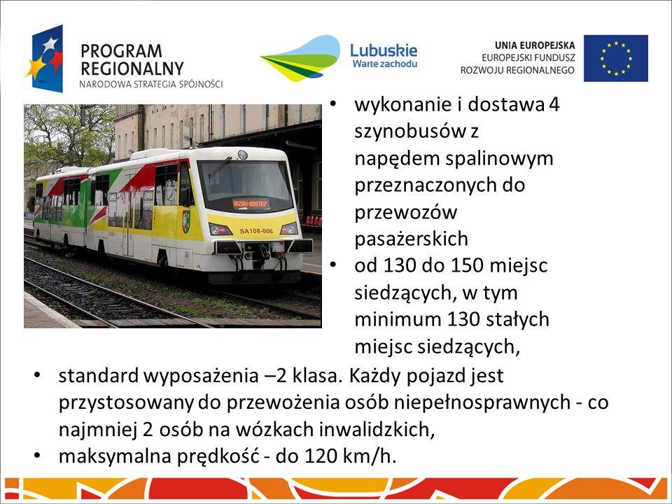 Inwestycje kolejowe. wykonanie i dostawa 4 szynobusów z napędem spalinowym przeznaczonych do przewozów pasażerskich od 130 do 150 miejsc siedzących, w