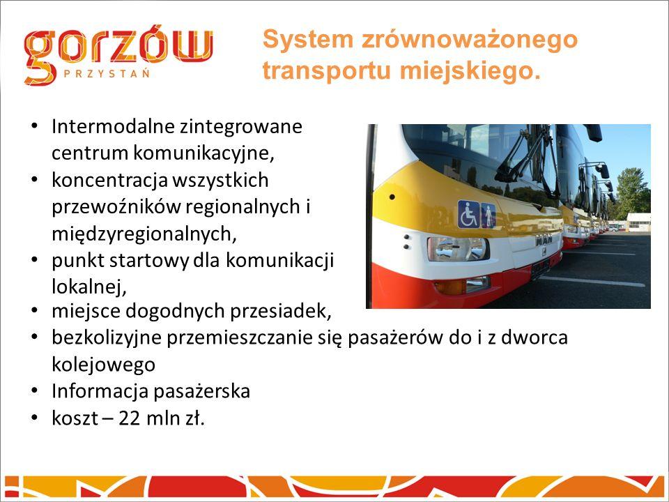 System zrównoważonego transportu miejskiego. Intermodalne zintegrowane centrum komunikacyjne, koncentracja wszystkich przewoźników regionalnych i międ