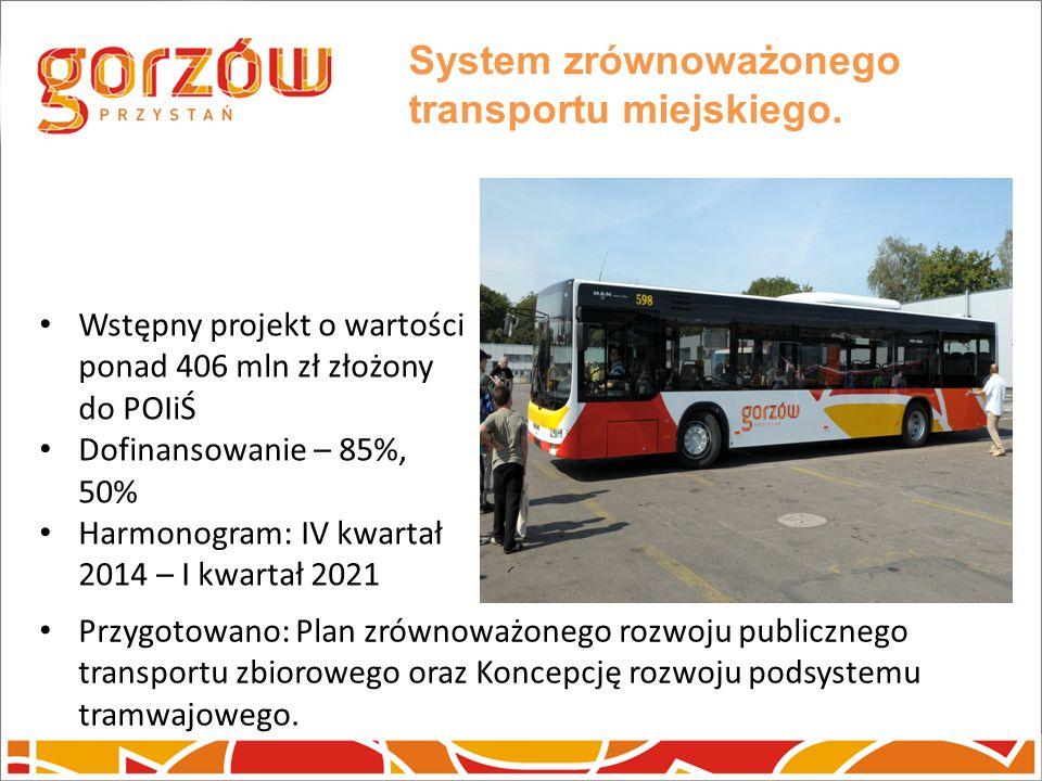 System zrównoważonego transportu miejskiego. Wstępny projekt o wartości ponad 406 mln zł złożony do POIiŚ Dofinansowanie – 85%, 50% Harmonogram: IV kw