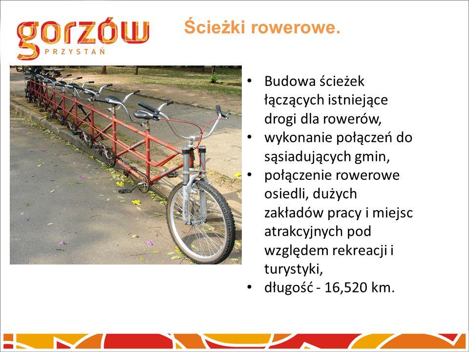 Ścieżki rowerowe. Budowa ścieżek łączących istniejące drogi dla rowerów, wykonanie połączeń do sąsiadujących gmin, połączenie rowerowe osiedli, dużych