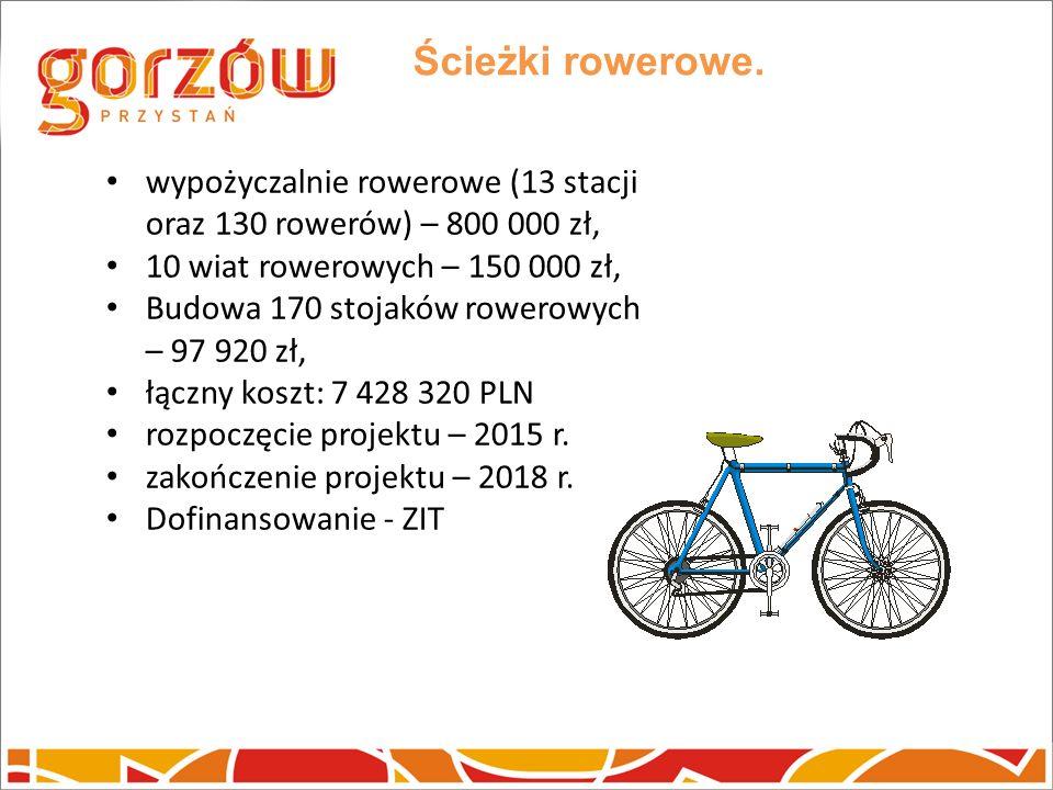 Ścieżki rowerowe. wypożyczalnie rowerowe (13 stacji oraz 130 rowerów) – 800 000 zł, 10 wiat rowerowych – 150 000 zł, Budowa 170 stojaków rowerowych –