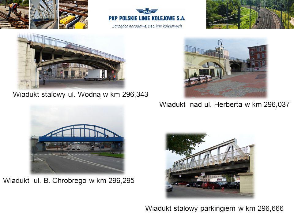 Zarządca narodowej sieci linii kolejowych Wiadukt nad ul. Herberta w km 296,037 Wiadukt ul. B. Chrobrego w km 296,295 Wiadukt stalowy ul. Wodną w km 2