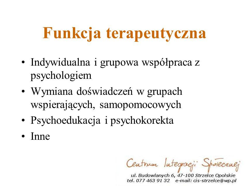 Funkcja terapeutyczna Indywidualna i grupowa współpraca z psychologiem Wymiana doświadczeń w grupach wspierających, samopomocowych Psychoedukacja i psychokorekta Inne