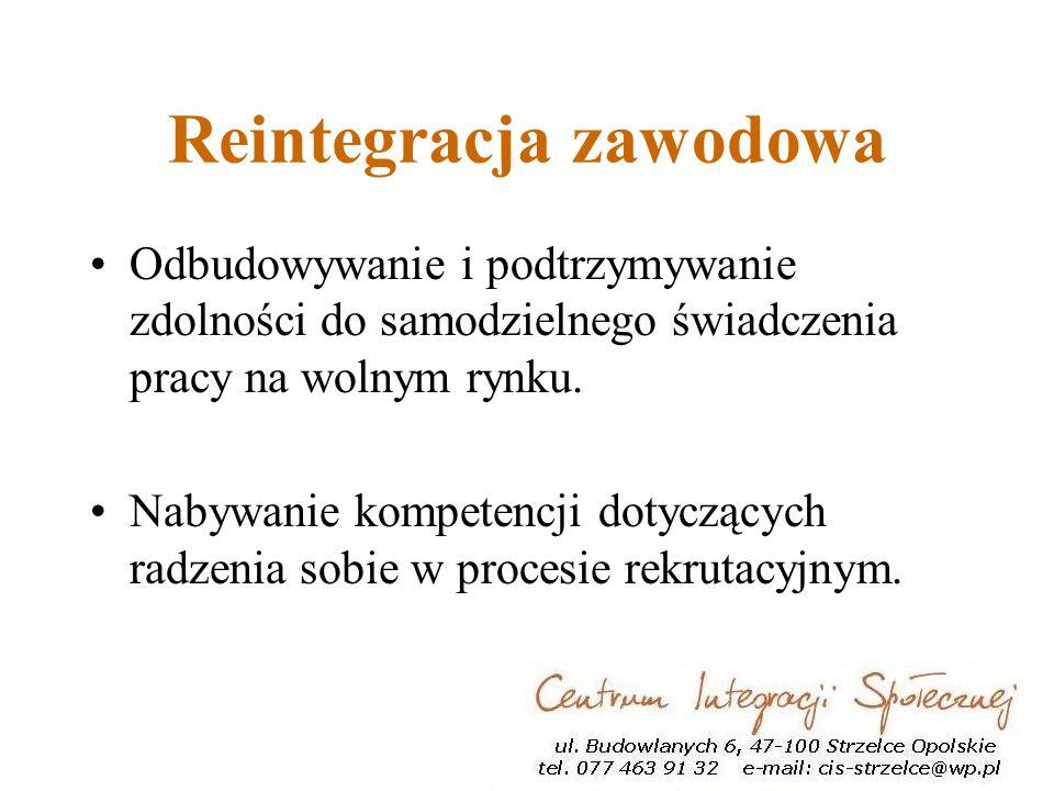 Reintegracja zawodowa Odbudowywanie i podtrzymywanie zdolności do samodzielnego świadczenia pracy na wolnym rynku.