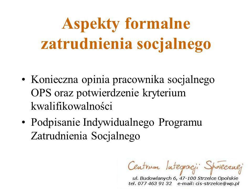 Aspekty formalne zatrudnienia socjalnego Konieczna opinia pracownika socjalnego OPS oraz potwierdzenie kryterium kwalifikowalności Podpisanie Indywidualnego Programu Zatrudnienia Socjalnego