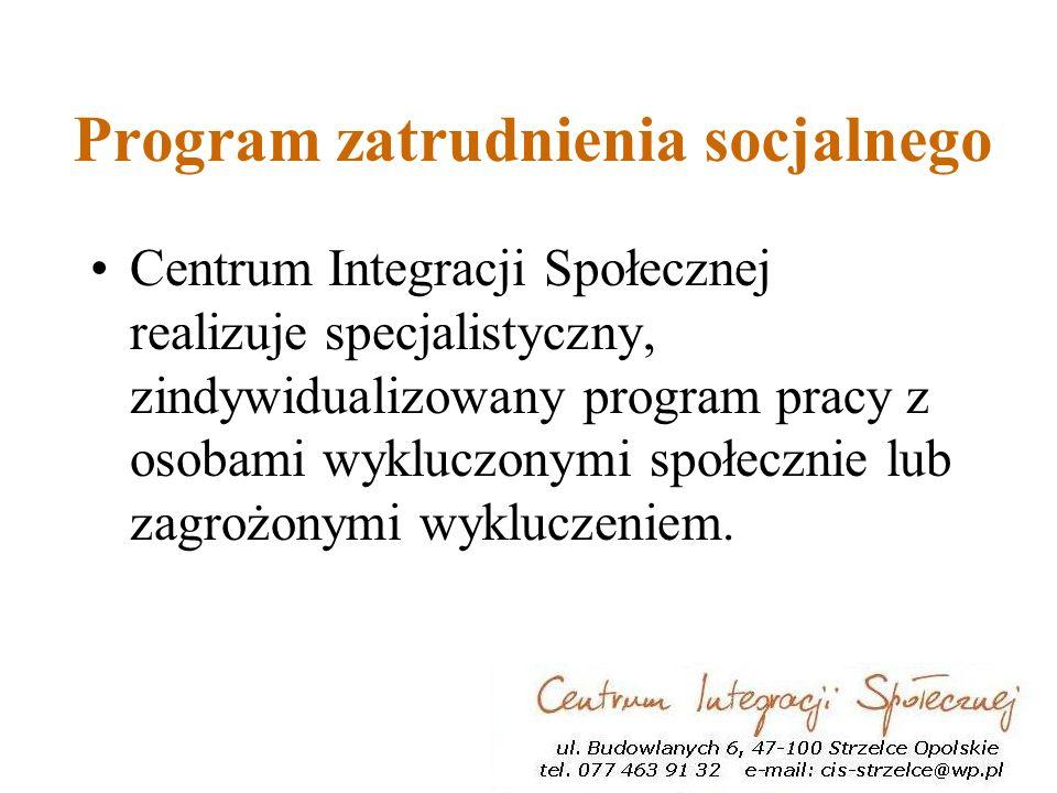 Program zatrudnienia socjalnego Centrum Integracji Społecznej realizuje specjalistyczny, zindywidualizowany program pracy z osobami wykluczonymi społecznie lub zagrożonymi wykluczeniem.