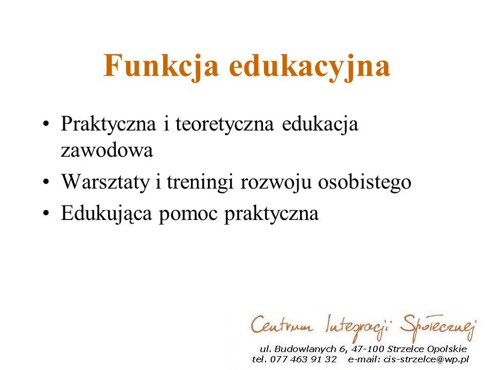 Funkcja edukacyjna Praktyczna i teoretyczna edukacja zawodowa Warsztaty i treningi rozwoju osobistego Edukująca pomoc praktyczna