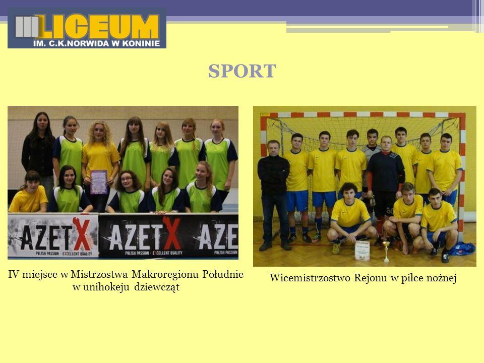 SPORT IV miejsce w Mistrzostwa Makroregionu Południe w unihokeju dziewcząt Wicemistrzostwo Rejonu w piłce nożnej