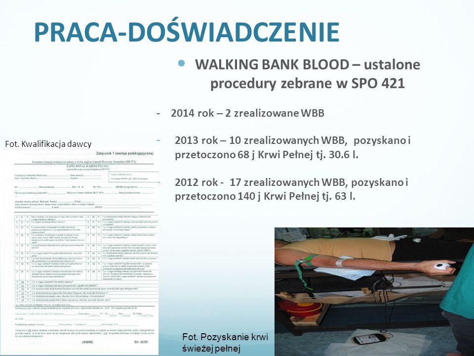 PRACA-DOŚWIADCZENIE WALKING BANK BLOOD – ustalone procedury zebrane w SPO 421 - 2014 rok – 2 zrealizowane WBB - 2013 rok – 10 zrealizowanych WBB, pozyskano i przetoczono 68 j Krwi Pełnej tj.