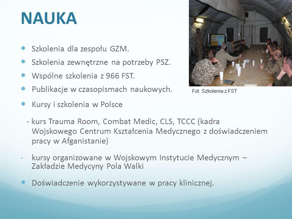 NAUKA Szkolenia dla zespołu GZM.Szkolenia zewnętrzne na potrzeby PSZ.