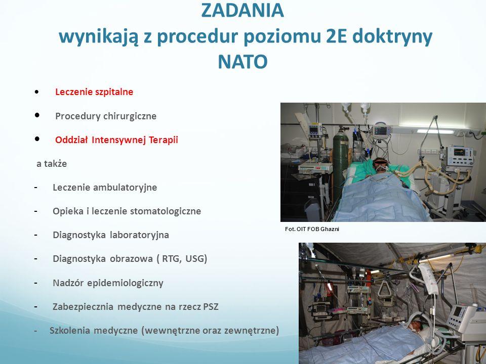 ZADANIA wynikają z procedur poziomu 2E doktryny NATO Leczenie szpitalne Procedury chirurgiczne Oddział Intensywnej Terapii a także - Leczenie ambulatoryjne - Opieka i leczenie stomatologiczne - Diagnostyka laboratoryjna - Diagnostyka obrazowa ( RTG, USG) - Nadzór epidemiologiczny - Zabezpiecznia medyczne na rzecz PSZ - Szkolenia medyczne (wewnętrzne oraz zewnętrzne) Fot.