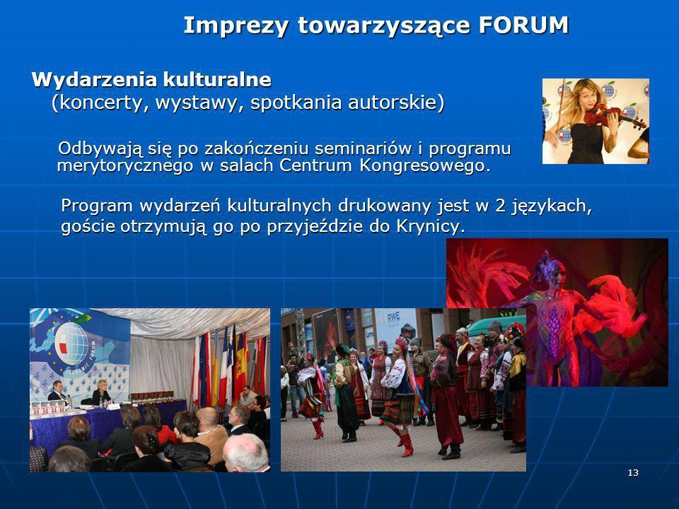 13 Wydarzenia kulturalne (koncerty, wystawy, spotkania autorskie) (koncerty, wystawy, spotkania autorskie) Odbywają się po zakończeniu seminariów i pr