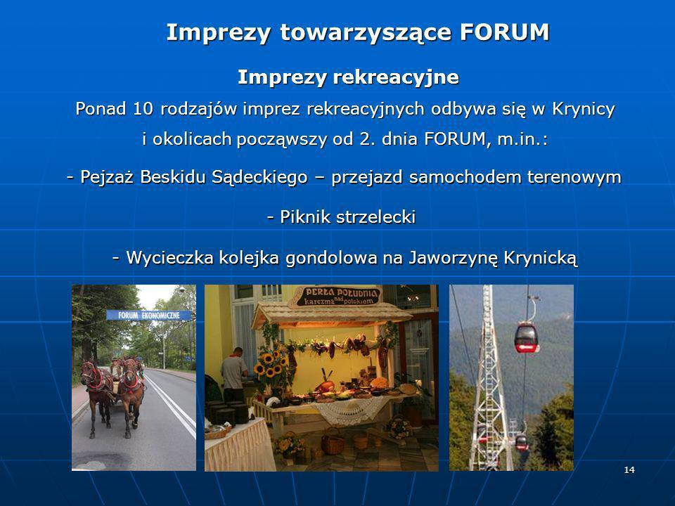 14 Imprezy rekreacyjne Imprezy rekreacyjne Ponad 10 rodzajów imprez rekreacyjnych odbywa się w Krynicy i okolicach począwszy od 2. dnia FORUM, m.in.: