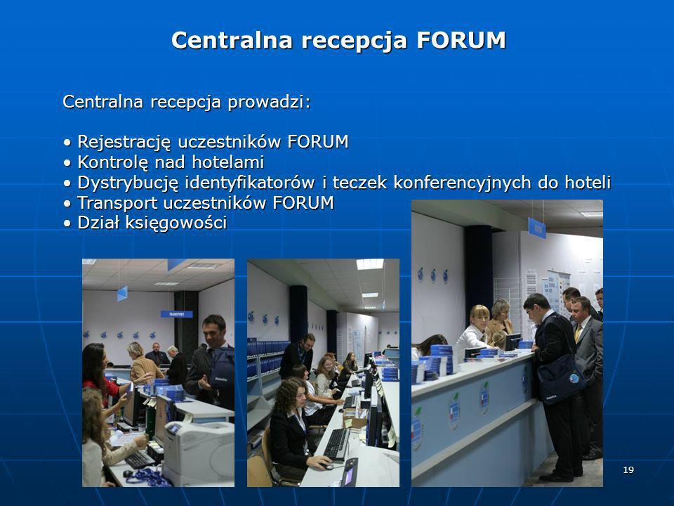 19 Centralna recepcja prowadzi: Rejestrację uczestników FORUM Rejestrację uczestników FORUM Kontrolę nad hotelami Kontrolę nad hotelami Dystrybucję id