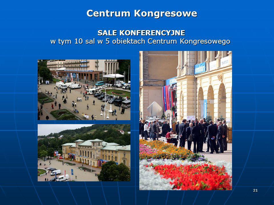 21 SALE KONFERENCYJNE w tym 10 sal w 5 obiektach Centrum Kongresowego Centrum Kongresowe Centrum Kongresowe