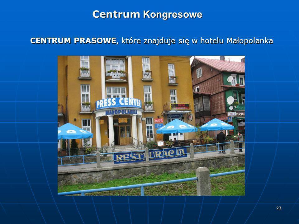 23 Centrum Kongresowe Centrum Kongresowe CENTRUM PRASOWE, które znajduje się w hotelu Małopolanka