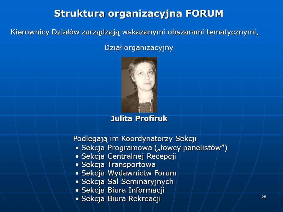 28 Kierownicy Działów zarządzają wskazanymi obszarami tematycznymi, Dział organizacyjny Podlegają im Koordynatorzy Sekcji Julita Profiruk Struktura or