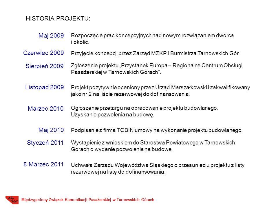 Maj 2009 Czerwiec 2009 Zgłoszenie projektu Przystanek Europa – Regionalne Centrum Obsługi Pasażerskiej w Tarnowskich Górach.
