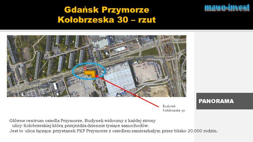 mawo-investmawo-invest.. Gdańsk Przymorze Kołobrzeska 30 – rzut PANORAMA Główne centrum osiedla Przymorze. Budynek widoczny z każdej strony ulicy Koło