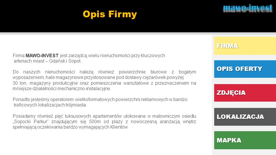 OPIS OFERTY Opis lokalizacji proponowanego lokalu mawo-investmawo-invest..
