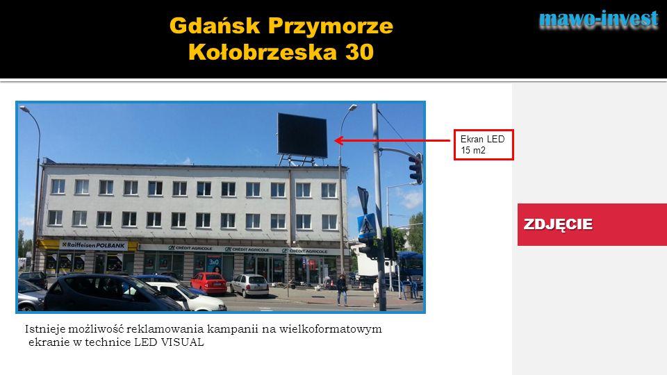 mawo-investmawo-invest.. ZDJĘCIE Gdańsk Przymorze Kołobrzeska 30 Ekran LED 15 m2 Istnieje możliwość reklamowania kampanii na wielkoformatowym ekranie